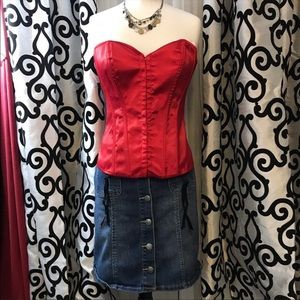 Fredericks of Hollywood Red Tie Corset NWT Sexy XL
